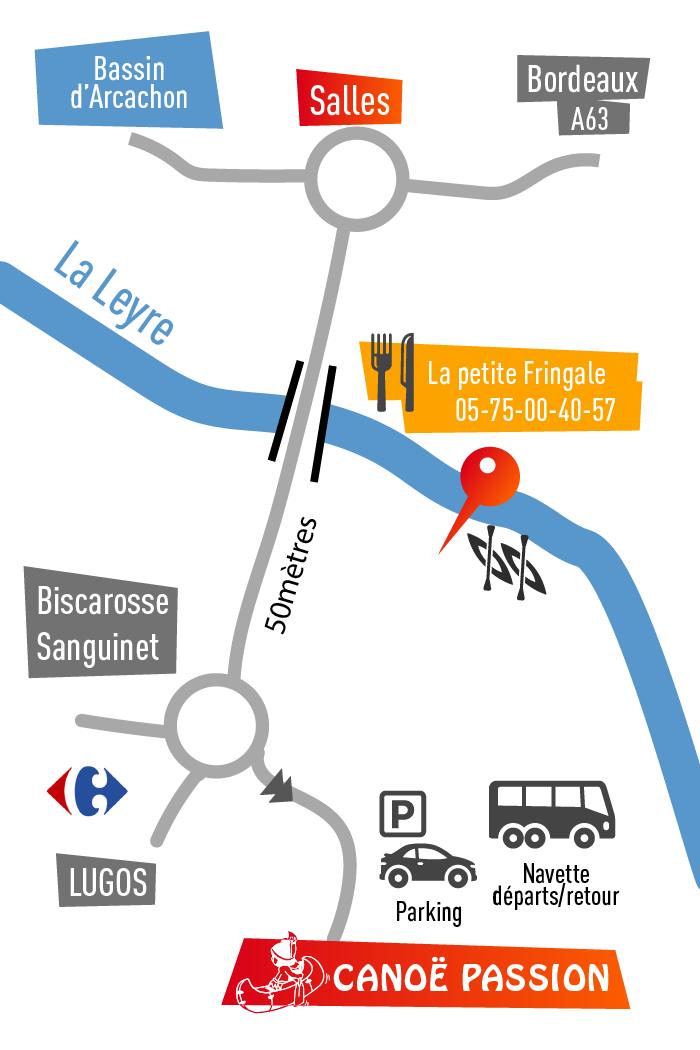 Plan acces Canoe-passion Arcachon, tourisme sport canoe kayak sur la leyre (Gironde-Landes)