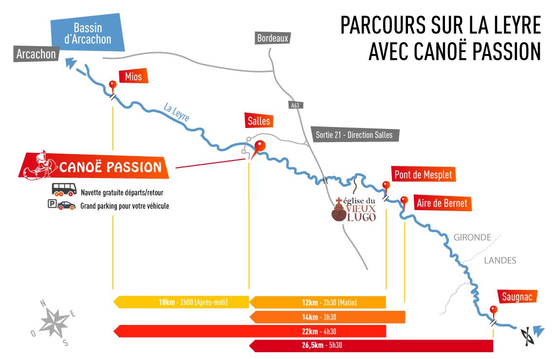 Topographie des parcours de Canoe et kayak sur la Leyre (Gironde- proche du Bassin Arcachon) de Canoë Passion